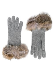 Inverni Fox Fur Trimmed Gloves Grey