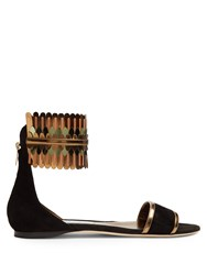 Jimmy Choo Kimro Suede Flat Sandals Black Multi