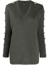 Max And Moi Buttoned Sleeves Jumper Grey