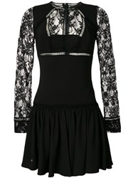 Philipp Plein Lace Panel Mini Dress Spandex Elastane Viscose Black
