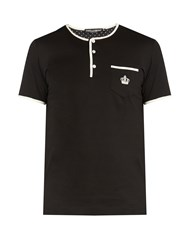 Dolce And Gabbana Contrast Trim Short Sleeved Henley T Shirt Black