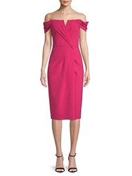 Rene Ruiz Off The Shoulder Crepe Dress Hot Berry