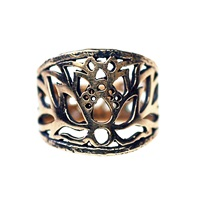 House Of Alaia Jewelry Lotus Filigree Saddle Ring Oxidized Sterling Silver
