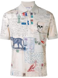 Alexander Mcqueen Letters From India Polo Shirt Nude Neutrals