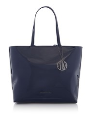 Armani Exchange Patent Medium Tote Blue