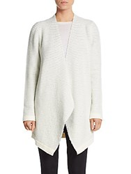 Alice Olivia Pinstriped Wool Blend Cardigan Cream