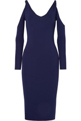Dion Lee Cold Shoulder Ribbed Stretch Knit Dress Navy