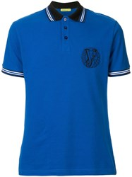 Versace Jeans Embroidered Logo Polo Shirt Blue