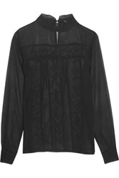 W118 By Walter Baker Lola Pintucked Embroidered Georgette Top Black
