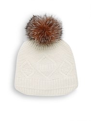 Surell Slouchie Fox Fur Trimmed Wool Blend Beanie Black