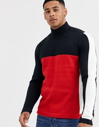 Only And Sons Retro Colour Block High Neck Jumper In Navy