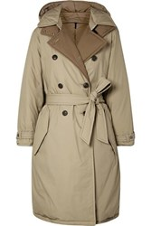 Rag And Bone Marcelle Reversible Belted Padded Cotton Canvas Coat Beige