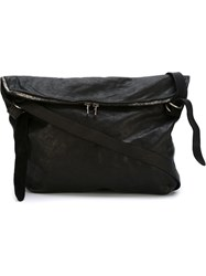 Guidi Zip Detail Messenger Bag Black