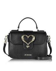 Love Moschino Eco Leather Satchel Bag W Heart Buckle Black