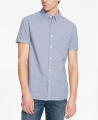 Kenneth Cole Reaction Men's Check Geo Pattern Short Sleeve Shirt Blue Moon Combo