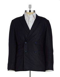 Carlos Campos Double Breasted Wool Suit Jacket Navy