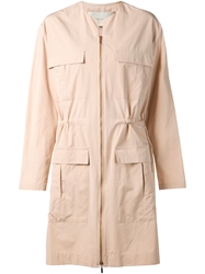 Cedric Charlier Cedric Charlier Collarless Zip Coat Nude And Neutrals