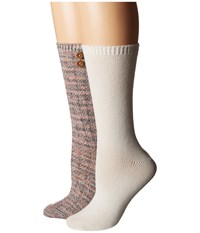 Steve Madden 2 Pack Button Crew Sock Taupe Off White Women's Crew Cut Socks Shoes Gray