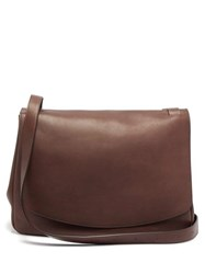 The Row Mail Large Leather Shoulder Bag Dark Brown