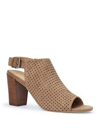 Me Too Meridia Perforated Suede Sandals Chestnut