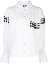 Victoria Hayes Striped Bead Embellished Shirt White