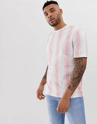 Another Influence Over Size Fit Stripe Shirt Pink