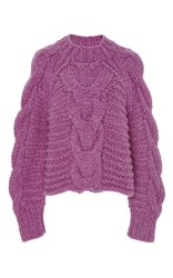 Ulla Johnson Hibiscus Francisca Cableknit Sweater Pink