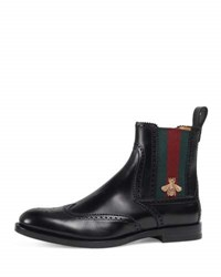 Gucci Strand Leather Chelsea Boot W Bee Web Black