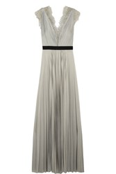 Catherine Deane Griffin Lace Trimmed Plisse Satin Gown Gray