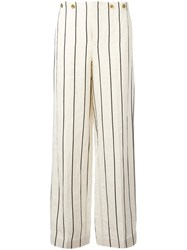 Polo Ralph Lauren Striped Wide Leg Trousers Nude Neutrals
