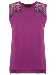 Talie Nk Embroidered Tank Top Pink Purple