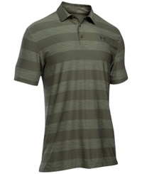 Under Armour Men's Playoff Performance Striped Golf Polo Army Green