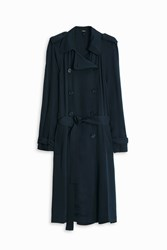 Theory Laurelwood Silk Trench Coat Green