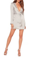 Missguided Women's Silky Wrap Front Minidress