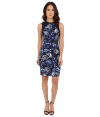 Adrianna Papell Printed Sheath With Knit Trim Garden Party Women's Dress Bone