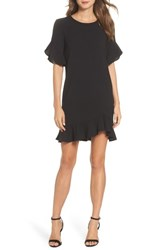 Charles Henry Ruffle Detail Shift Dress Black