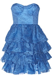 Alice Olivia Easton Ruffled Lace Bustier Dress