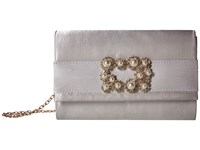 Jessica Mcclintock Alexis Satin Rhinestone Broach Clutch Silver Clutch Handbags