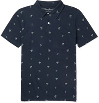 Hartford Printed Cotton And Linen Blend Jersey Polo Shirt Navy