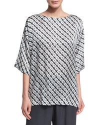Eskandar Small Diamond Shibori Silk Top Gray
