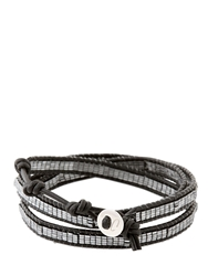 Colana Leather Wrap Bracelet With Hematite Black Silver