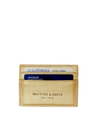 Whiting And Davis Brass Metal Mesh Faux Leather Credit Card Holder Gold