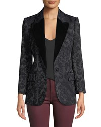 L'agence Neval Jacquard Suiting Blazer With Contrast Lapels Black Black Combo