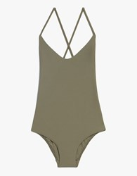 Matteau Swim Cross Back Maillot In Olive