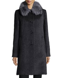 Sofia Cashmere Fur Collar Button Front Car Coat Charcoal Grey