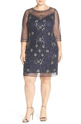 Pisarro Nights Plus Size Women's Illusion Neck Beaded Shift Dress Navy