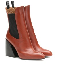 Chloe Wave Leather Ankle Boots Brown