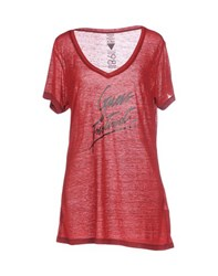 Guess Topwear T Shirts Women Brick Red
