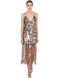 Marco De Vincenzo Maxi Sequin And Fringed Long Dress Multicolor