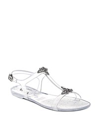 Badgley Mischka Belize Embellished T Strap Jelly Sandals Clear